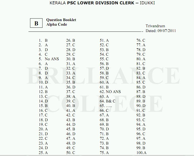 Kerala PSC LDC Answer Key Idukki 2011, Solutions & Solved