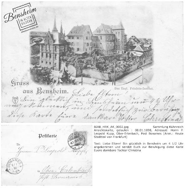 Ansichtkarte, gelaufen 1898, Ankunft einer Schülerin Bensheim an der Liebfrauenschule, Sammlung Kühnreich