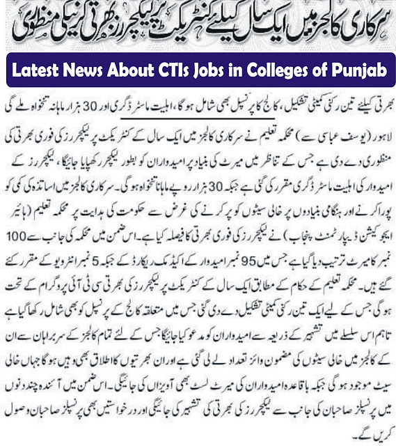 CTIs Jobs in Punjab
