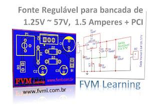 Fonte Regulável para bancada de 1.25V ~ 57V,  1.5 Amperes + PCI