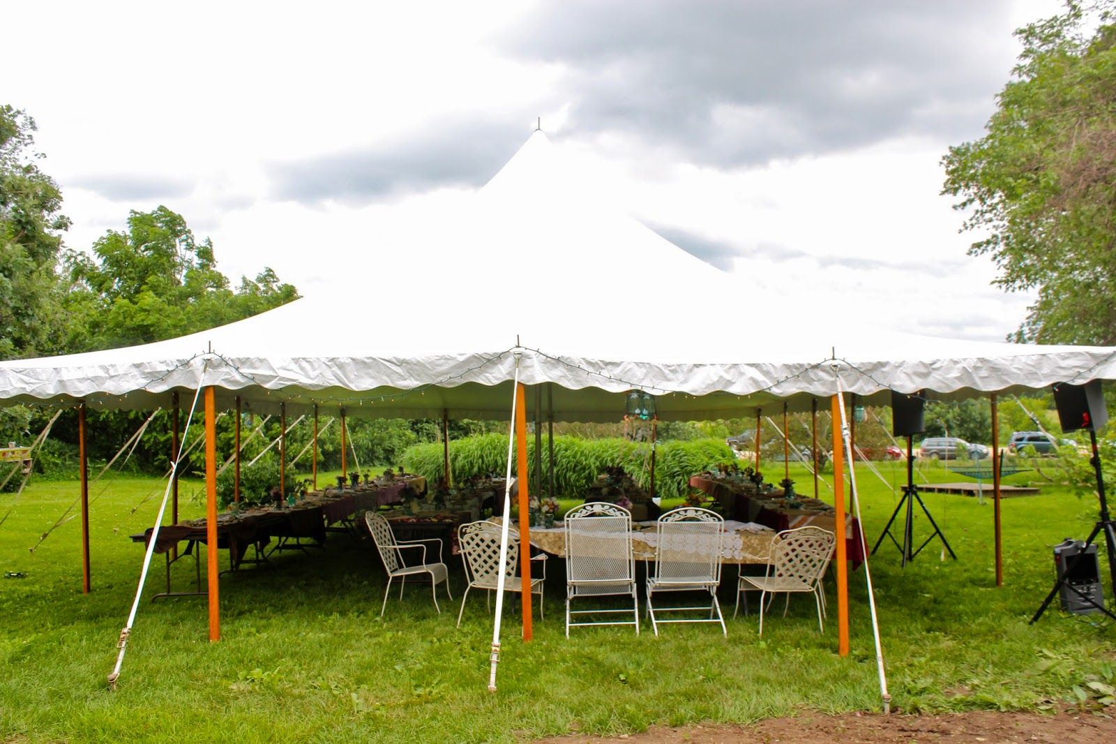 The tent for the dinner was set up on Friday. The forecast for Saturday was for very stormy weather so they decided to rent a second large tent to cover ... & Squash Blossom Farm: A Wedding on the Farm!