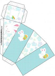 Conejito de Pascua en Cuadros Celestes: Cajas para Imprimir Gratis.