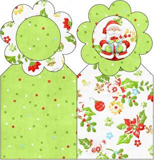 Para marcapáginas de Santa en Fondo Verde.