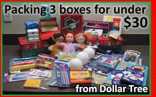 How to pack three Operation Christmas Child shoeboxes for $30.