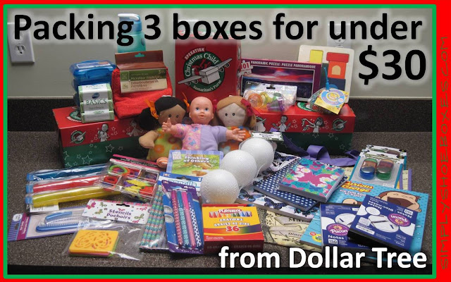 How to pack three Operation Christmas Child shoeboxes for under $30.
