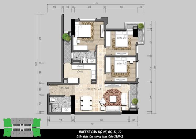 Thiết kế căn hộ 3 ngủ điển hình IRIS GARDEN
