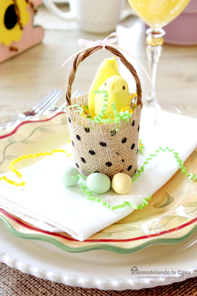 polka dot burlap basket on yellow plate with peeps as Easter decor