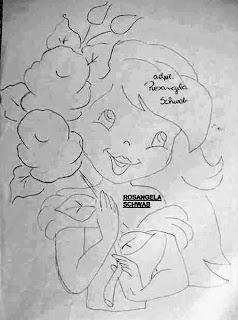 desenho de moranguinho com rosas para pintar em pano de copa e colocar saia de croche