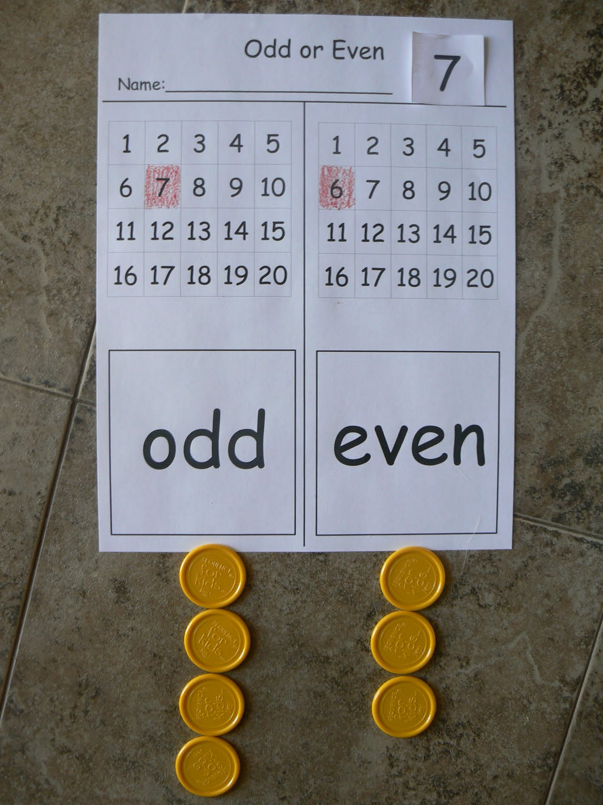 Mrs T S First Grade Class Odd And Even Numbers