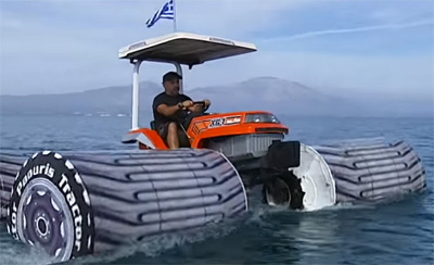 Is This A Tractor Or A Boat ?! Crazy Greek Guy Enjoys Beautiful Day On A Water With Amphibious Tractor