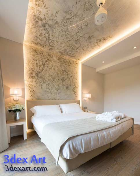 New false ceiling designs ideas for bedroom 2018 with led for Latest wallpaper design for bedroom