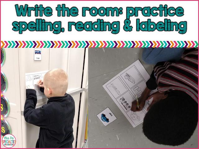 Practice reading, spelling and labeling with write the room activities.