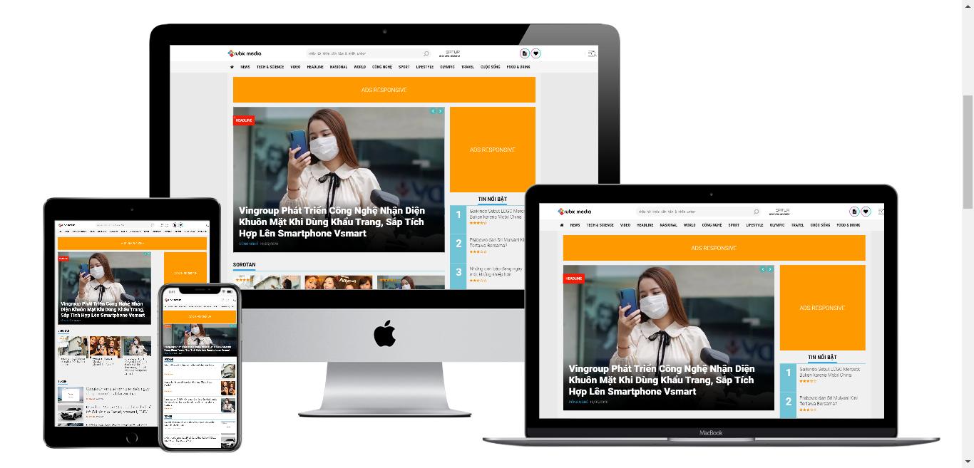 Theme blogspot tin tức báo chí chuẩn seo nhiều vị trí ads