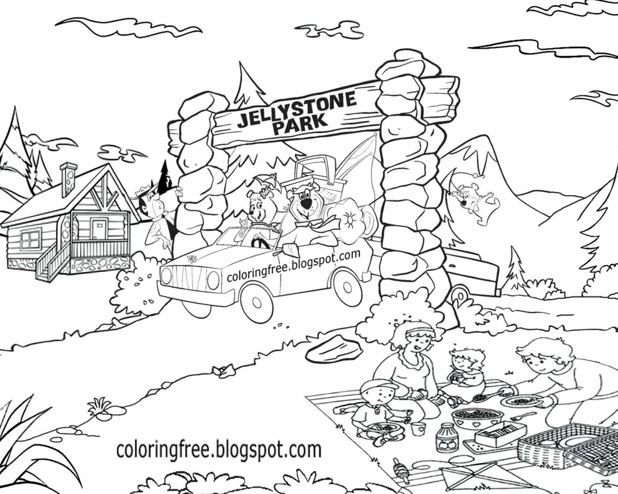teenage complex printable yogi bear comic strip characters national park usa campsite coloring pages