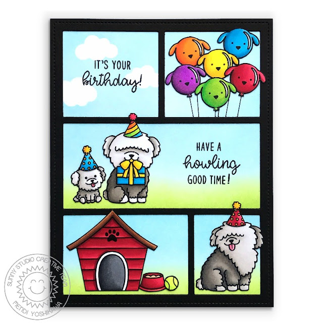 Sunny Studio Stamps: Puppy Parents Birthday Card (using Comic Strip Everyday Die & Party Pups Stamps)