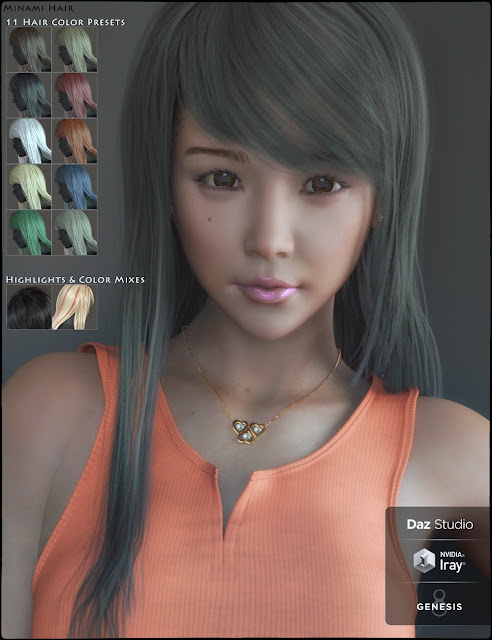 Minami HD and Minami Hair for Genesis 8 Female