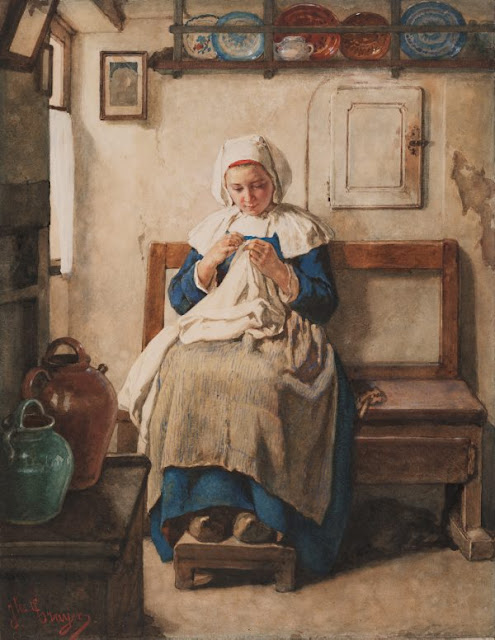 "Artwork, XIX century art, watercolours, ""Breton peasant girl"" by Jules Trayer, circa 1870s."