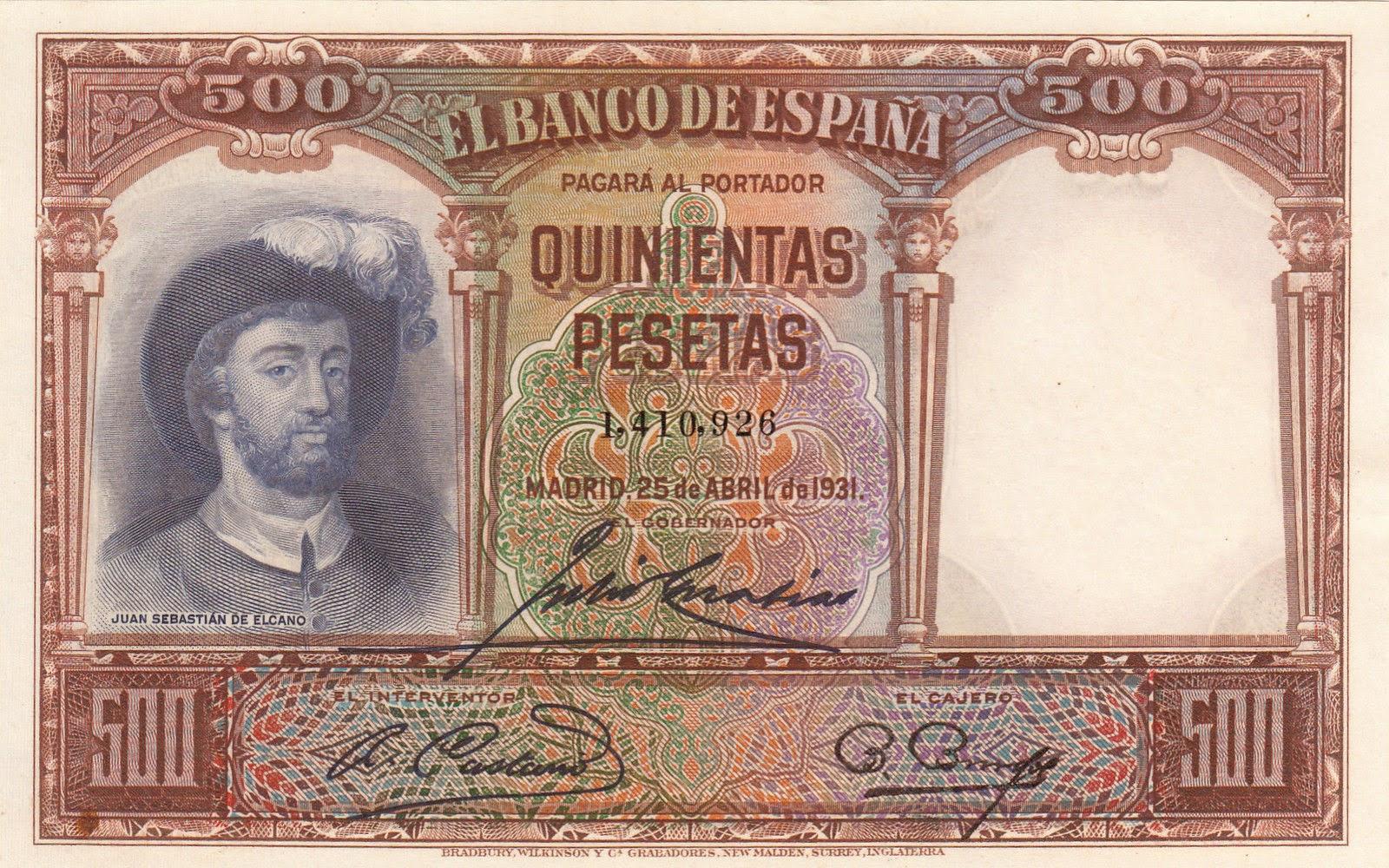 Spain Banknotes 500 Pesetas banknote 1931 navigator Juan Sebastian de Elcano
