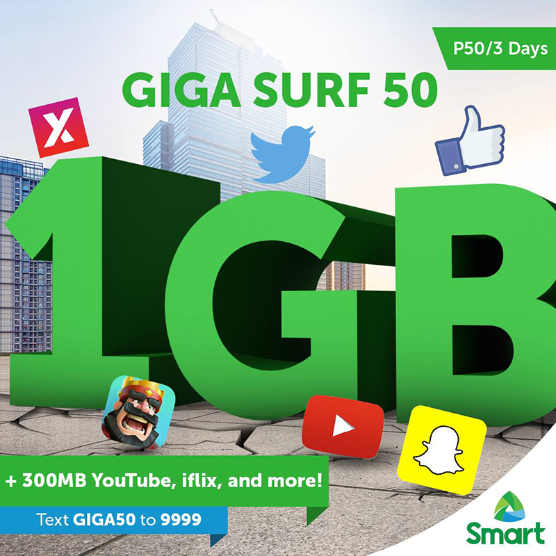 Smart Intros GIGASURF 50, Comes With 1 GB Open Data And 300 MB For YouTube And iFlix For 3 Days!
