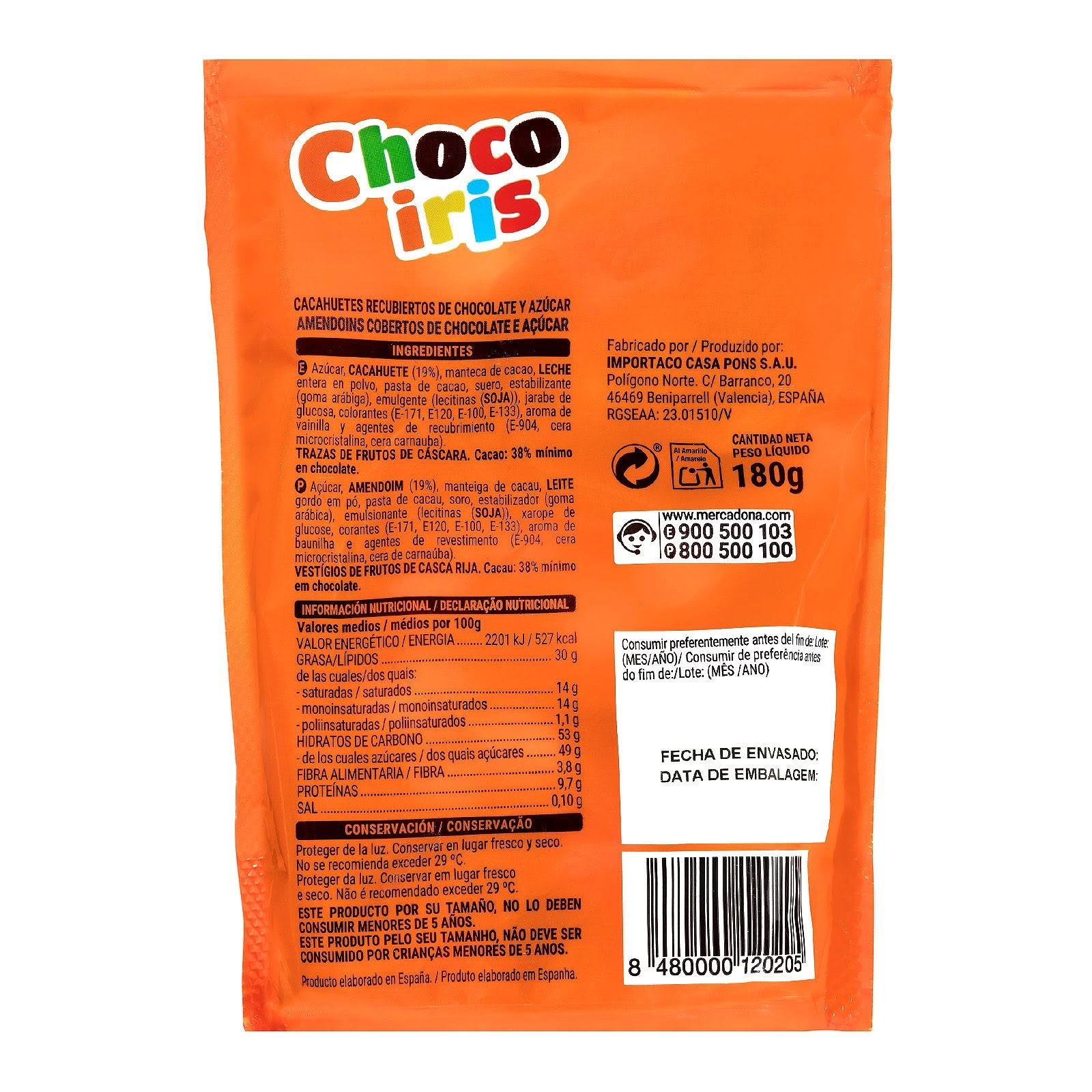 Cacahuetes recubiertos de chocolate y azúcar Chocoiris Hacendado