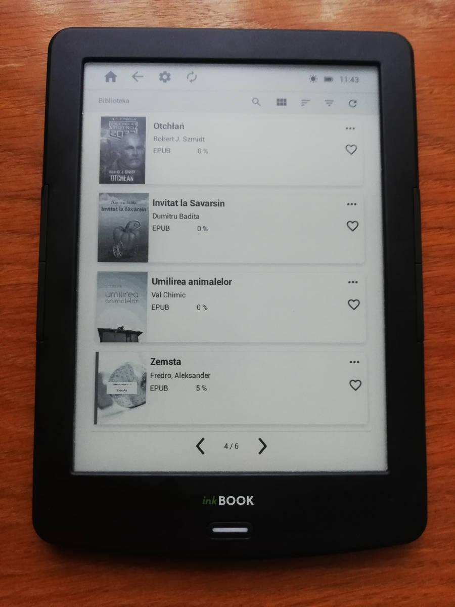 BIblioteka w InkBOOK LUMOS po aktualizacji oprogramownaia do wersji 2.0.0