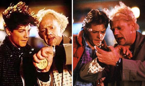 Eric Stoltz e Michael J. Fox como Marty McFly