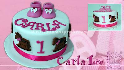 tarta personalizada fondant cumpleaños peucos patucos caballito primer laia's cupcakes puerto sagunto