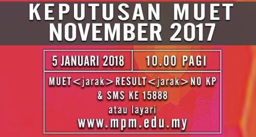 Keputusan MUET November 2017 Online Dan SMS