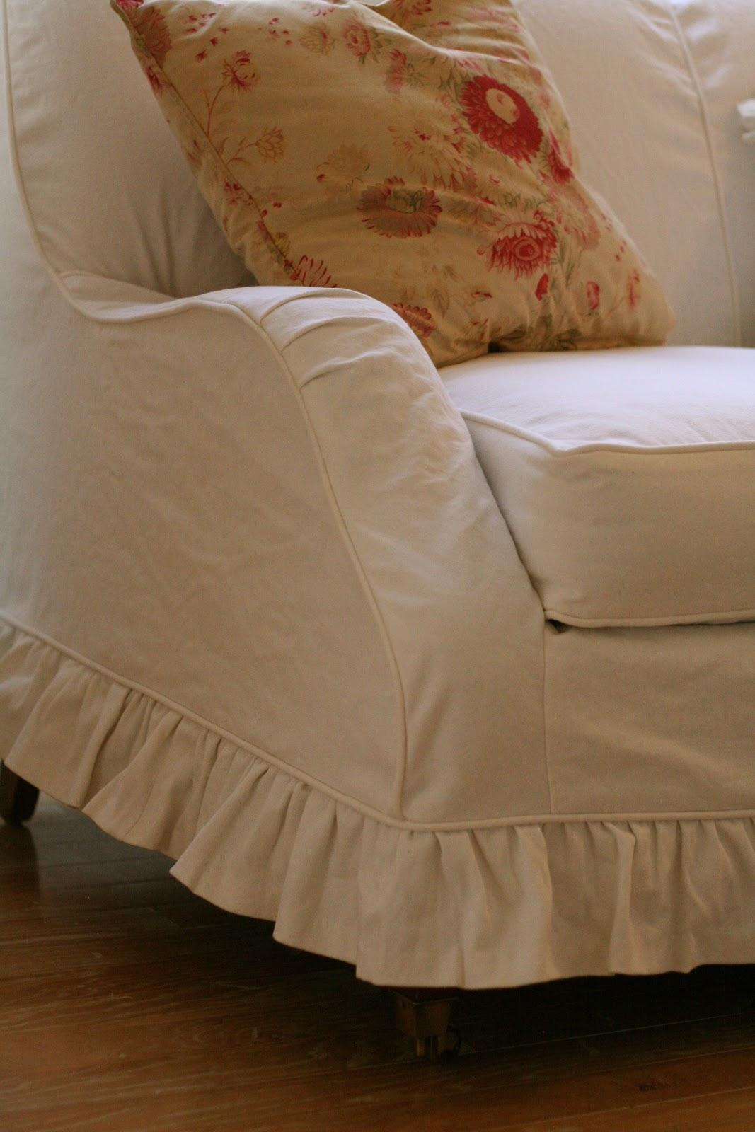 Pleasing White Denim Loveseat With Ruffled Skirt Slipcovers By Shelley Pdpeps Interior Chair Design Pdpepsorg