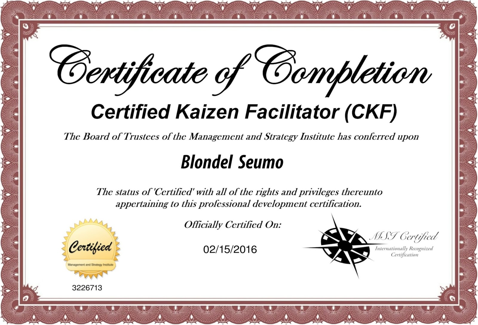 Kaizen Certification (with Blondel Seumo)