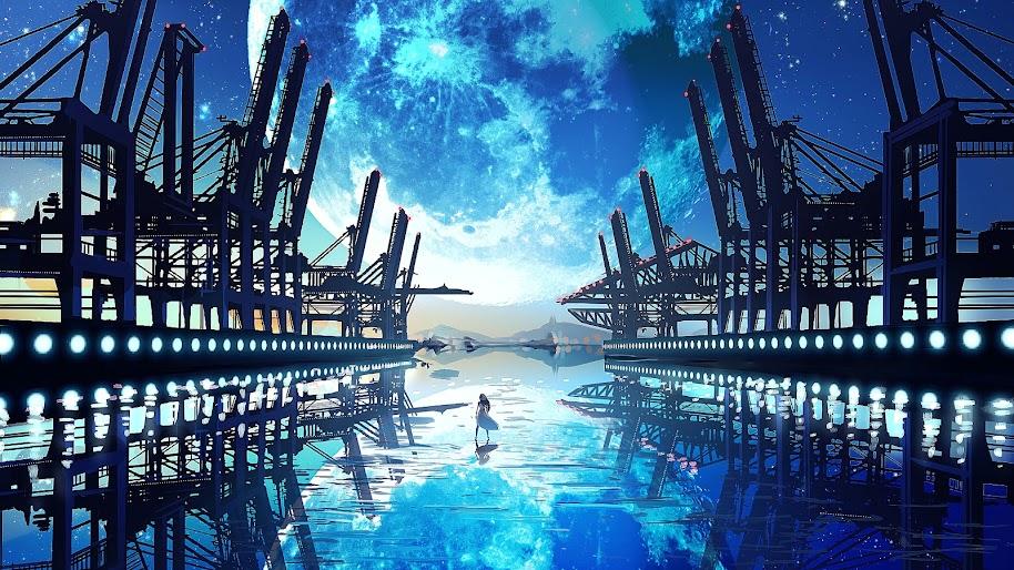 Anime, Scenery, Landscape, Moon, 4K, 3840x2160, #45
