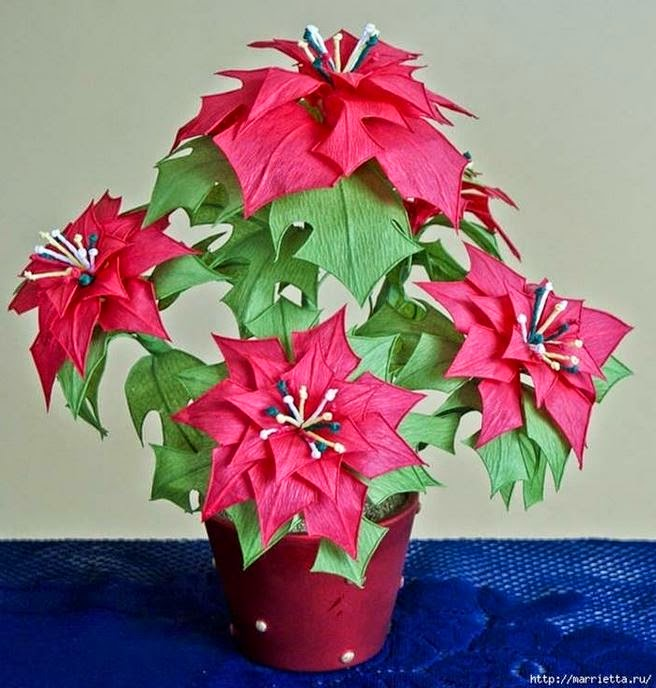 Diy Crepe Paper Poinsettia The Christmas Star The Idea King