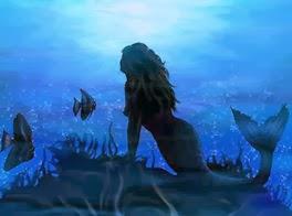 Lector y sirena en el fondo del mar