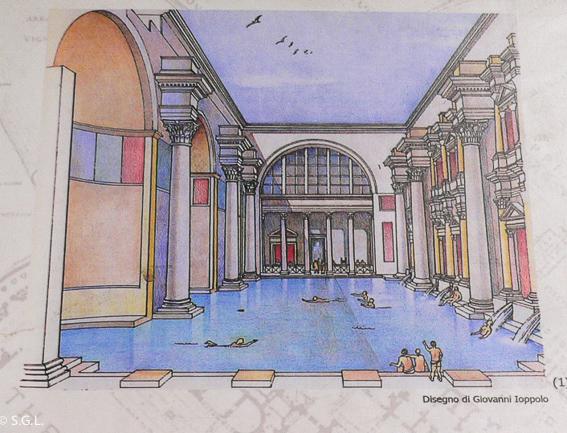 Dibujo de las termas de Caracalla en Roma