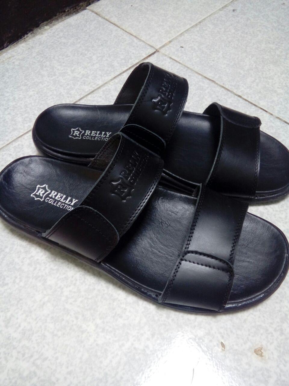 Sandal Pria Relly Leather Collections Warna Hitam Terbuat Dari Kulit Sapi Size No 3839404142 Dan Coklat