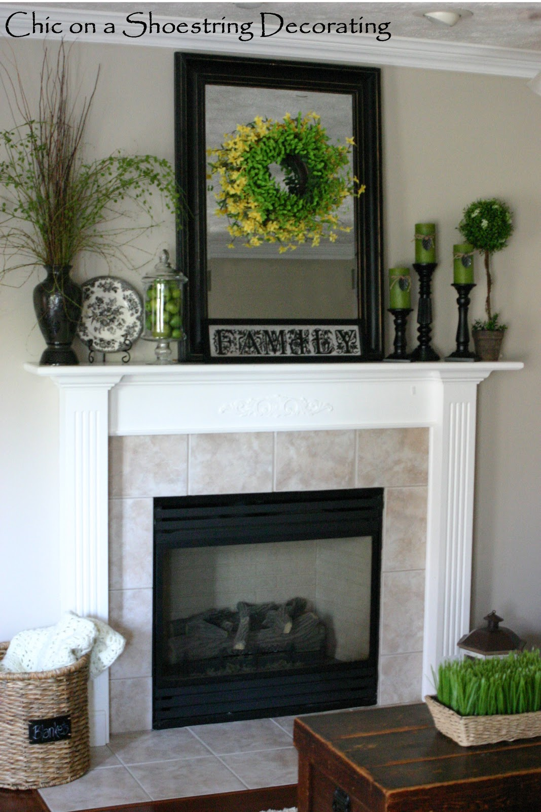 mantel design chic on a shoestring decorating some summer decor 3202
