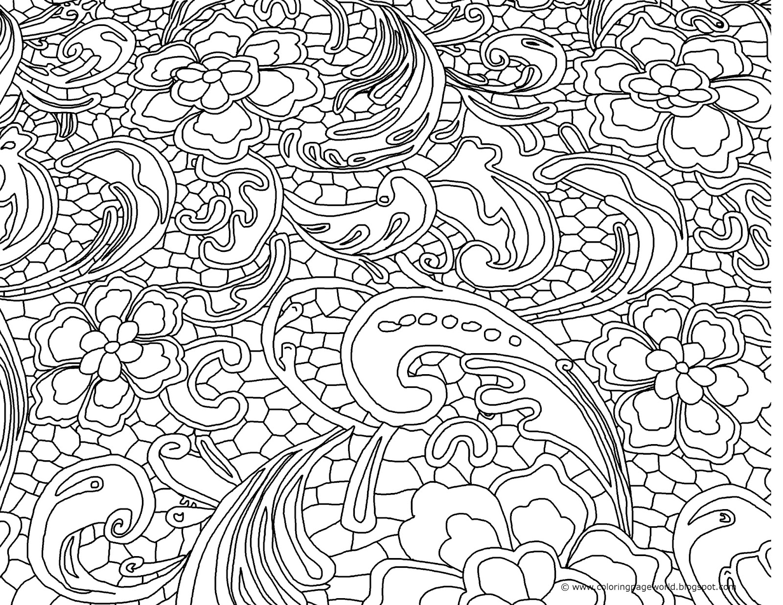 Coloring Page World: Flowery (Landscape