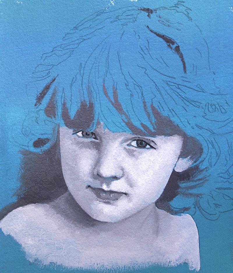 Figurative Blue Paintings by Zrinka Budimlija.