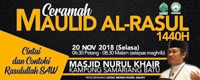 Ceramah Maulidurrasul 1440H Anjuran ABIM Sarawak dan MNK KASBA