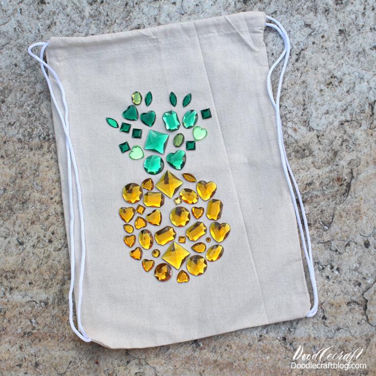 Diy Rhinestone Pineapple Canvas Drawstring Backpack