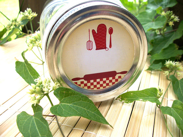 red country gingham kitchen canning labels