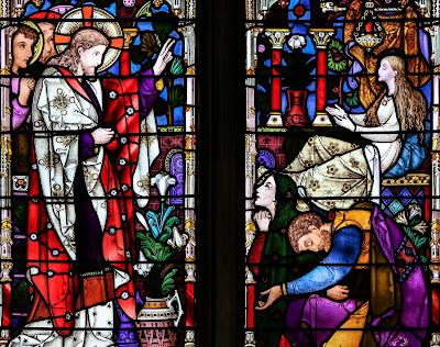 Imagem de Jesus ressuscitando a filha de Jairo, vitral, #1