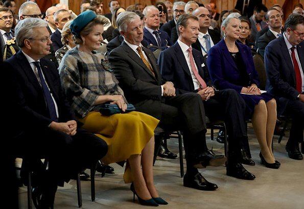 Queen Mathilde wore asymmetric yellow midi dress Natan aw2019 collection. The Queen wore a new asymmetric yellow midi dress by Natan