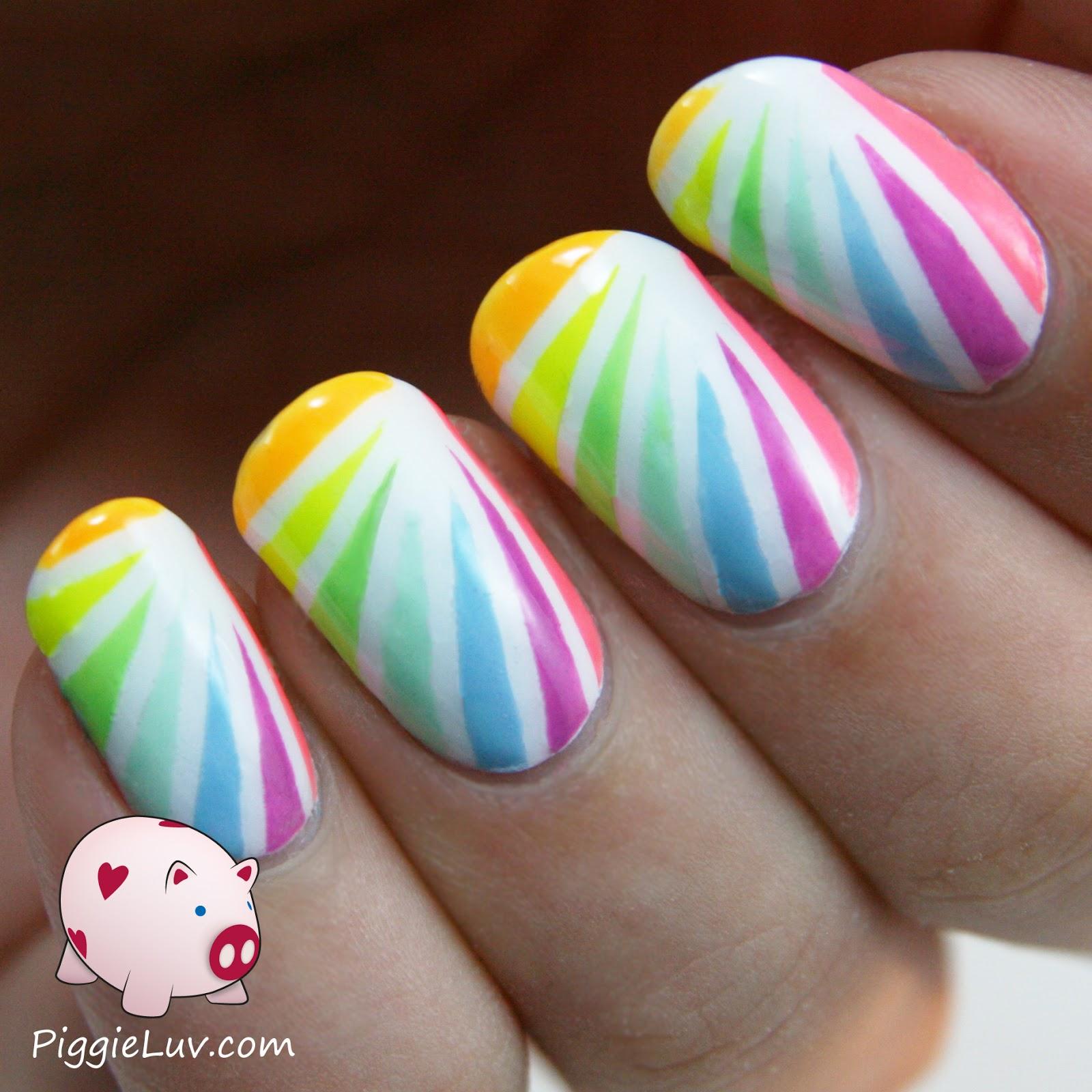 Piggieluv Rainbow Bubbles Nail Art: PiggieLuv: Neon Rainbow Tape Mani