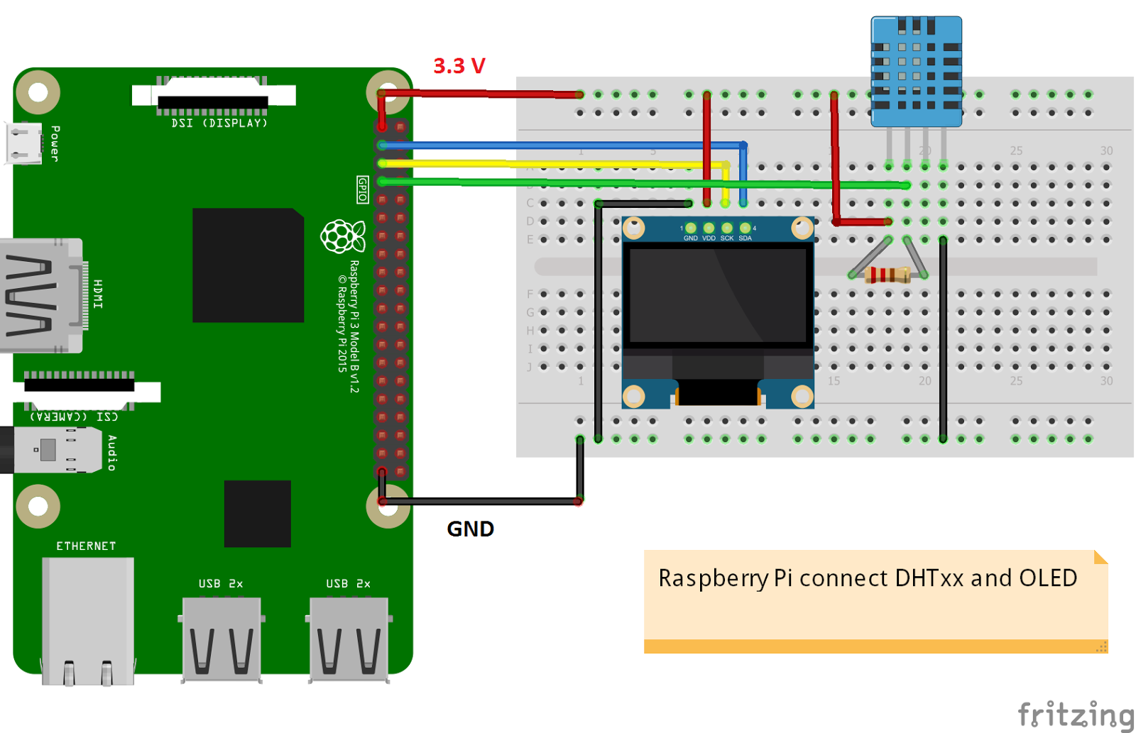 Pleasant Raspberry Pi Projects Raspberry Pi Dht Sensor And Oled In Python Code Wiring Digital Resources Indicompassionincorg
