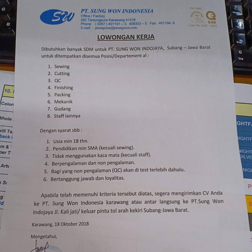 Lowongan Kerja Terbaru Pt Sung Won Indojaya Di Subang Jawa Barat Lokerpos Com