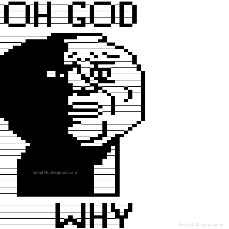 Oh God Why Meme Text Face Cool ASCII Text Art 4 U