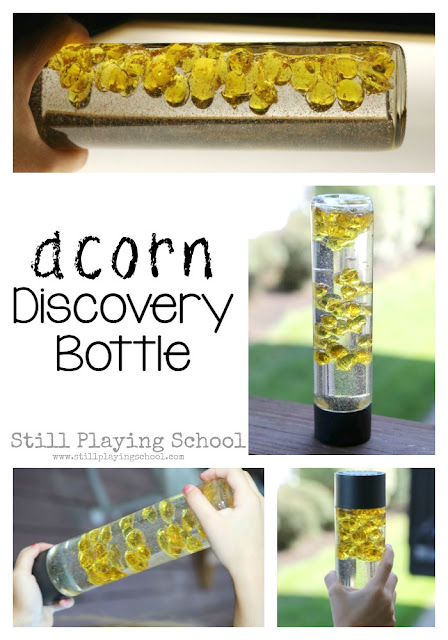 This fall acorn discovery bottle is perfect for kids autumn sensory play!