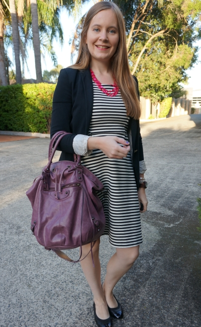 Black and white Fit and Flare Blazer Office Outfit with pink and purple Accessories, Balenciaga pom pon | awayfromblue