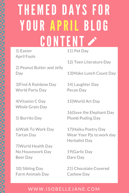 April blog ideas, themed content, april content ideas, blog inspiration,
